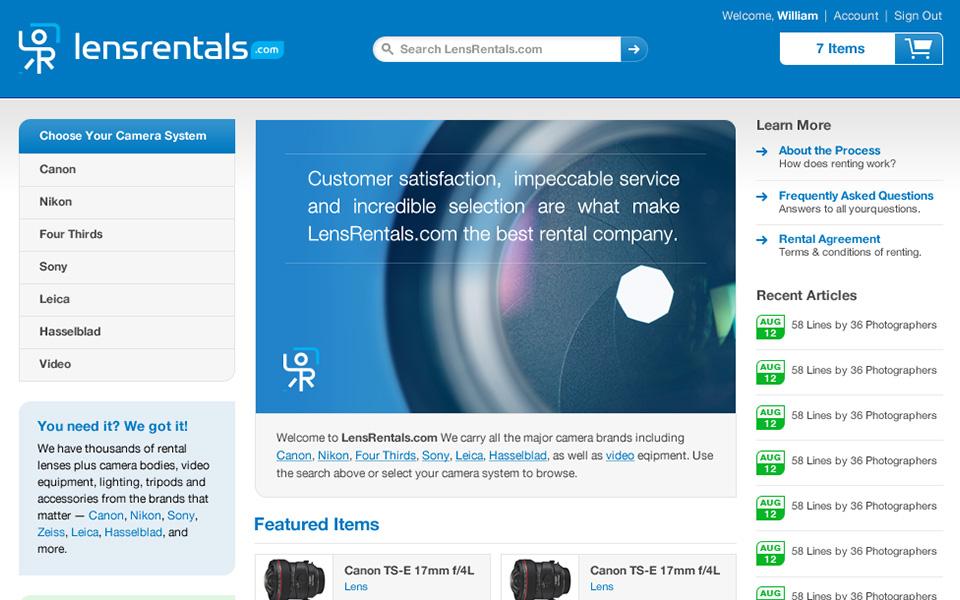 Screenshot 1 of LensRentals.com